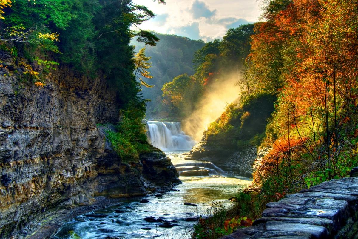 秋天森林阳光树木岩石悬崖瀑布美丽自然风景4k壁纸 4k家园